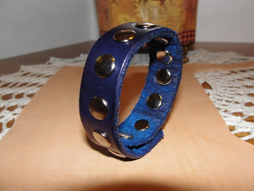 Custom Made 'Blue Leather Bracelet With Studs'