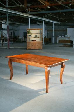 Custom Made Dining Table With Brown Cherry With Cabriole Legs: Wood Dining Room Furniture