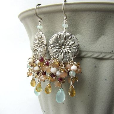 Custom Made Fine Silver And Sterling Silver Gemstone Earrings