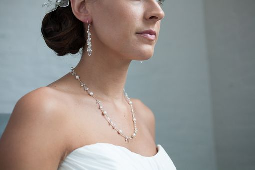 Custom Made Silver Pearl & Crystal Cluster Necklace