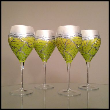 Custom Made Hand Painted 'Spring' Collection Crystal Red Wine Glasses