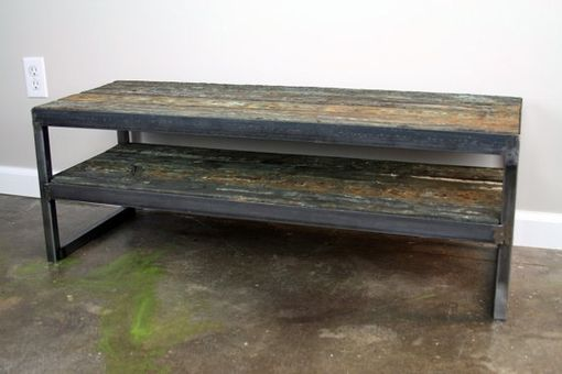 Custom Made Rustic Reclaimed Wood Tv Stand. Minimalist Media Console. Industrial Style. Custom Hand-Made