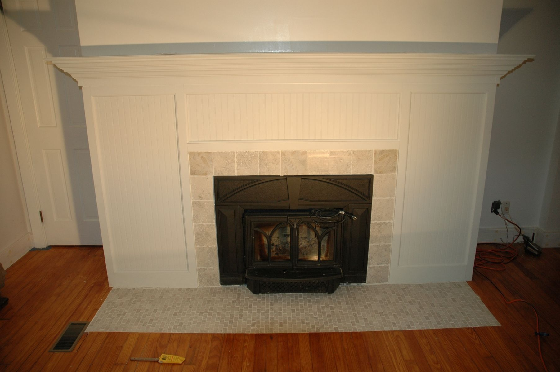 Handmade custom fireplace surround amp tile remodel by wooden it be nice