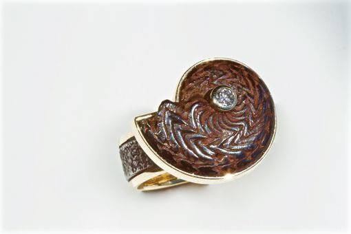 Custom Made Ammonite Fossil Ladies Ring, 14kt Rose Gold And Forged Stainless Steel, Size 8 1/2