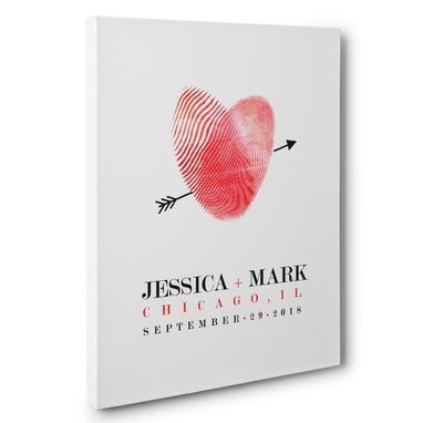 Custom Made Thumbprint Heart Personalized Wedding Guestbook Canvas Wall Art
