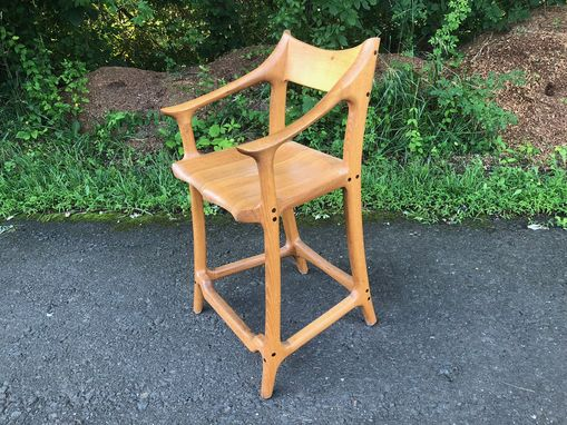 Custom Made Sculpted Counter Stool In The Style Of Sam Maloof