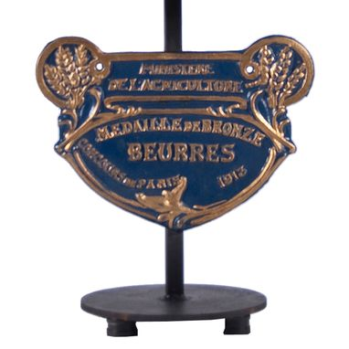 Custom Made Vintage Blue French Iron Plaque Upcycled Table Lamp