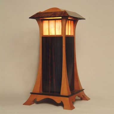 Custom Made Elegant Wood And Stained Glass Lantern