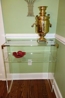 Custom Made The Brass Accent Console Table With Shelves