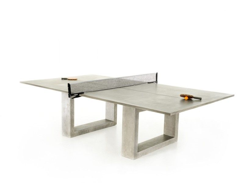 Handmade concrete ping pong dining table for andre agassi and steffi graf by james dewulf - Dimension d une table de ping pong ...