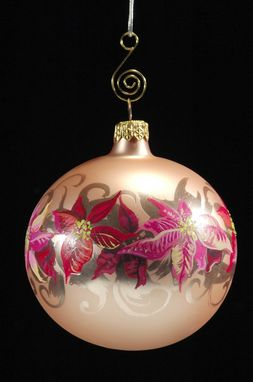 Custom Made Hand Painted Poinsettia Christmas Ornament