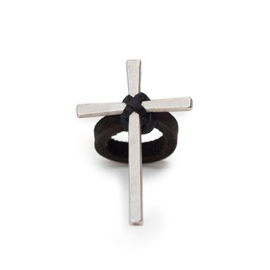 Custom Made Silver Cross Ring On Leather Ring Band