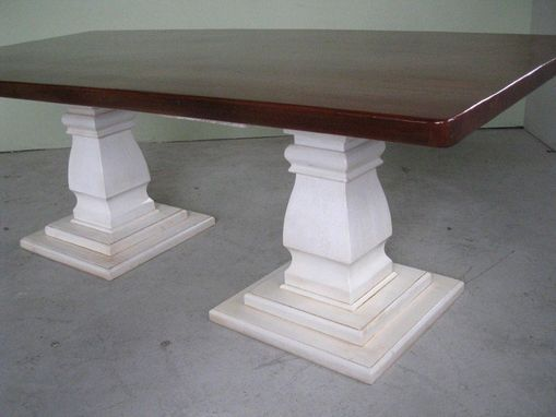 Custom Made Old Pine Table With High Gloss And Pedestal Base