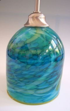 Custom Made Ocean Blues Hand Blown Glass Pendant Light