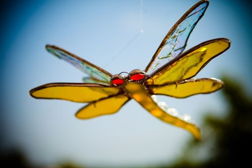 Custom Made Double Winged Dragonfly Stained Glass Art In Yellow