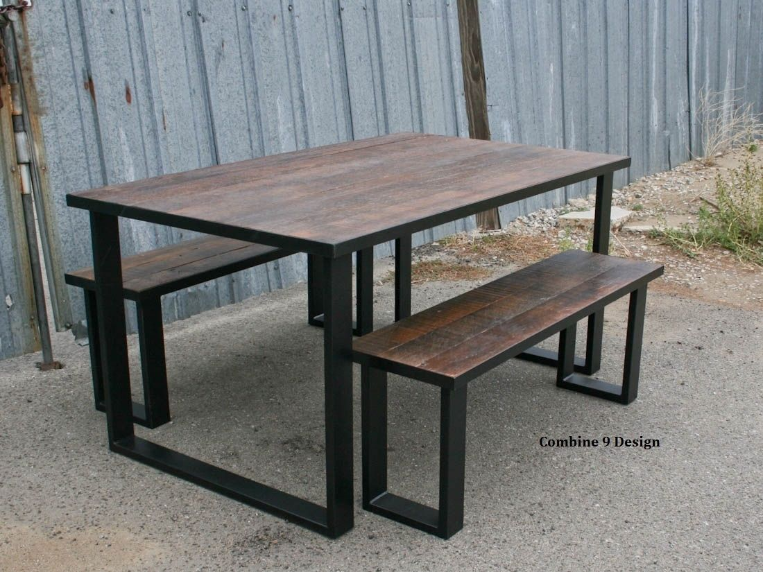 Hand Crafted Reclaimed Wood Dining Set Industrial Steel Rustic - Distressed wood dining table with bench