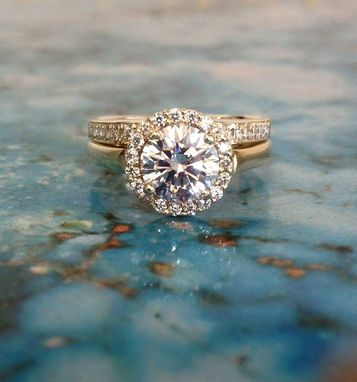 Custom Made Halo Style With 1.50 Carat Diamond Center, Matching Wedding Band