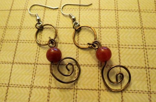 Custom Made Wire Wrapped Red Beaded Brass Hoop And Spiral Earrings