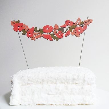 Custom Made Hand Painted Flower Garland Cake Topper