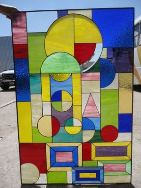 Custom Made Colorful Frank Wright Style Stained Glas Window