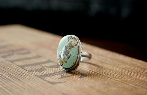 Custom Made Green Turquoise Oval Silver Ring