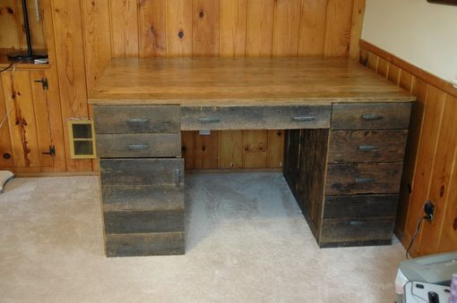 Custom Made Large Reclaimed Oak Desk