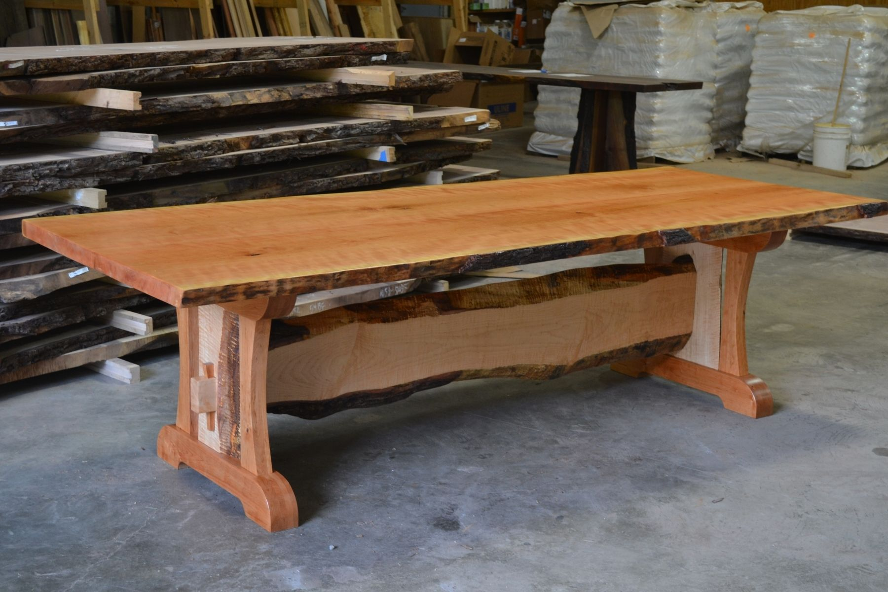 Hand Crafted Live Edge Cherry Dining Table With