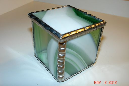 Custom Made 2 X 2 X 2 Bright White And Periot Green Stained Glass Boxes