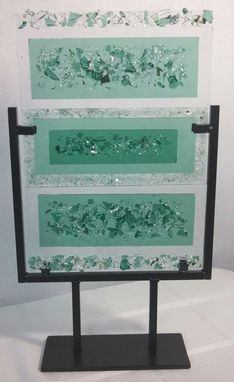 Custom Made Fused Glass Textured Art Piece In Metal Stand