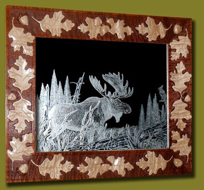 "Custom Made Hand Carved Oak Leaf And Acorn Frame With An 11"" 14"" Etching Of Moose"