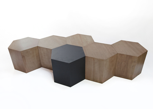 Custom Made Hexagon Wood Modern Geometric Table- Walnut