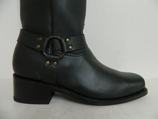 Custom Made Square Toe Harness Boots Made To Order In Genuine Calf Full Grain Leather All Men Sizes Available