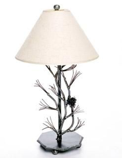 Custom Made Metal Pine Table Lamp