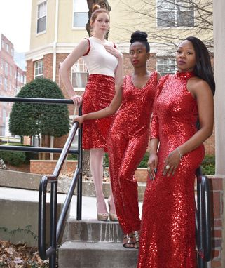 Custom Made Red Sequin Gown