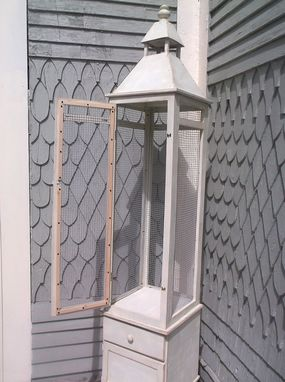 Custom Made Shabby Distressed Tall Bird Cage Cabinet