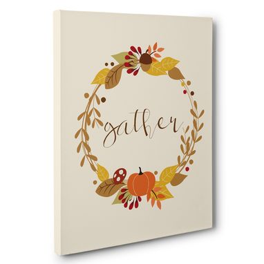 Custom Made Gather Fall Wreath Canvas Wall Art