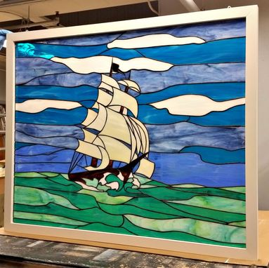 "Custom Made Stained Glass Window Panel - ""Sailing The Stormy Sea"" - (W-79)"