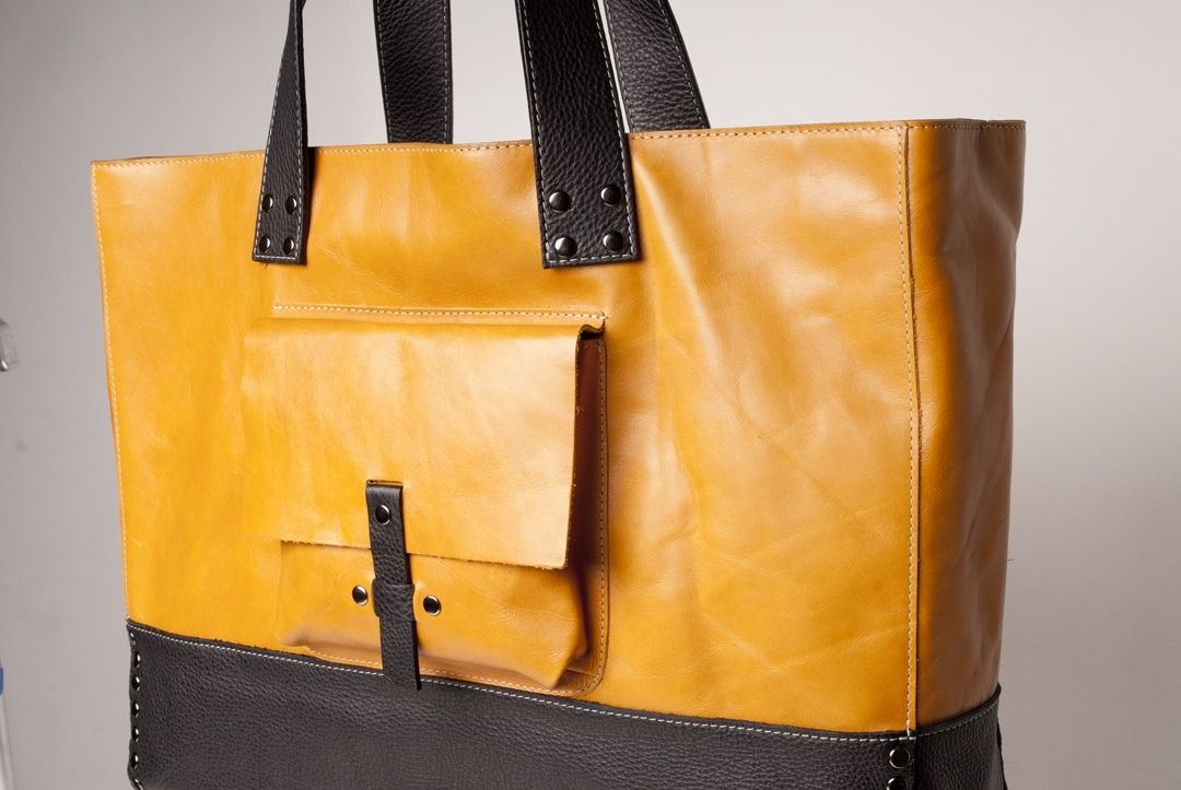 Custom Made Leather Tote Bag Fully Lined Golden Yellow With Black Contrast