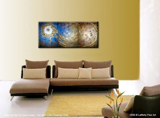 Custom Made Original Large Abstract Art, Gold Metallic Textured, Blue Night Star Painting By Lafferty - 24x54