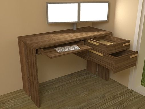 Custom Made Solid Walnut Computer Desk With Adjustable Tray Height And All Wood Drawer Slides