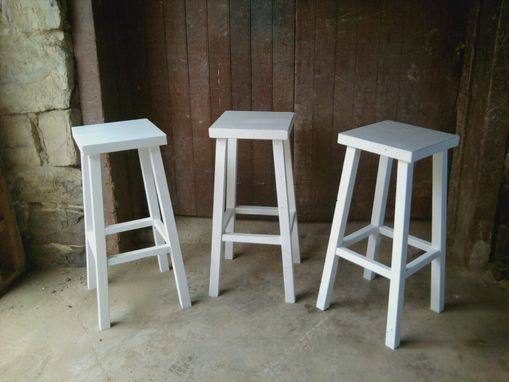 Custom Made Painted Reclaimed Wood Country Stools