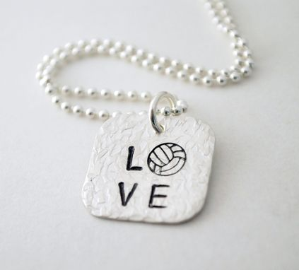 Custom Made Volleyball Necklace Hand Stamped Sterling Silver