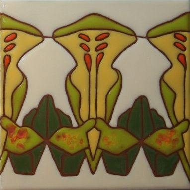 Custom Made Art Deco Border Tile - Yellow And Green