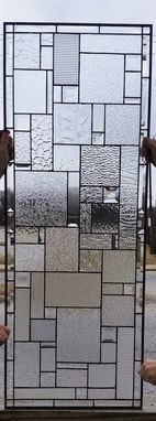 "Custom Made Stained Glass Set Of Windows - ""Bevels & Clears"" (W-106)"