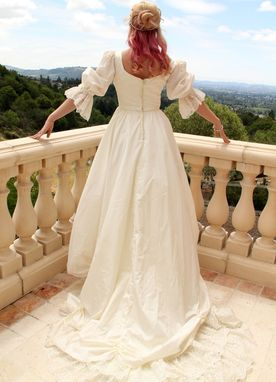 Custom Made Vintage 1970s Renissance Wedding Dress Bridal Gown With Lace Train And Swarovski