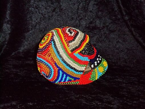Custom Made Beaded Skull - Circus Swirls