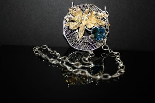 "Custom Made ""Blue Sea Orchid"" Silver Necklace"
