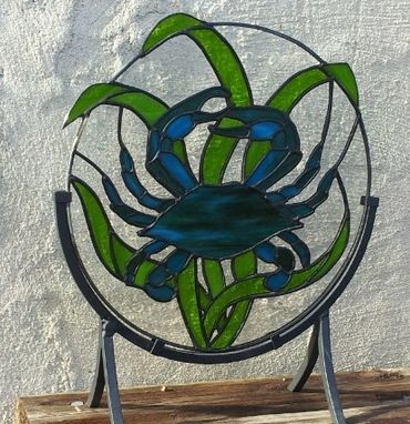 Custom Made Stained Glass Panel -  Blue Crab D-3