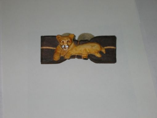 Custom Made Bow Tie - Cougar In Wood