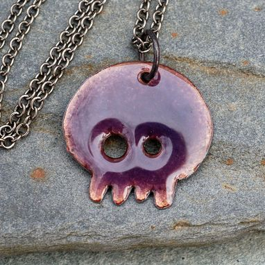 Custom Made Skull Necklace Pendant, Copper Enamel, Enameled Jewelry, Calavera - Violet